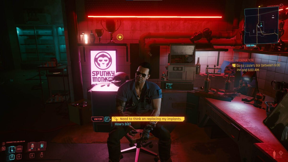 Cyberpunk 2077 Cyberware Guide Ripperdoc Viktor Vektor sits at his worktop and looks at V.