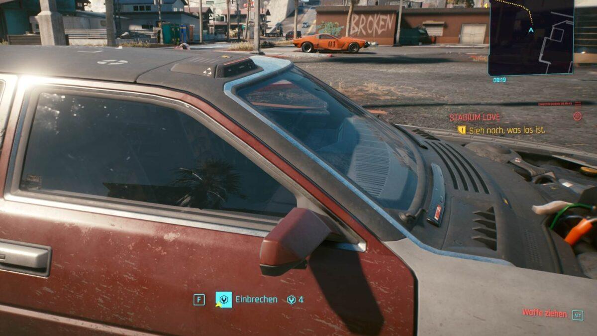 Cyberpunk 2077 Fahrzeuge Auto klauen Attributsabfrage an der Autotür