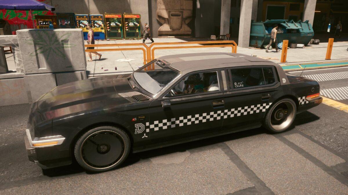 Cyberpunk 2077 Fahrzeuge Delamain-Taxi in Stadtumgebung