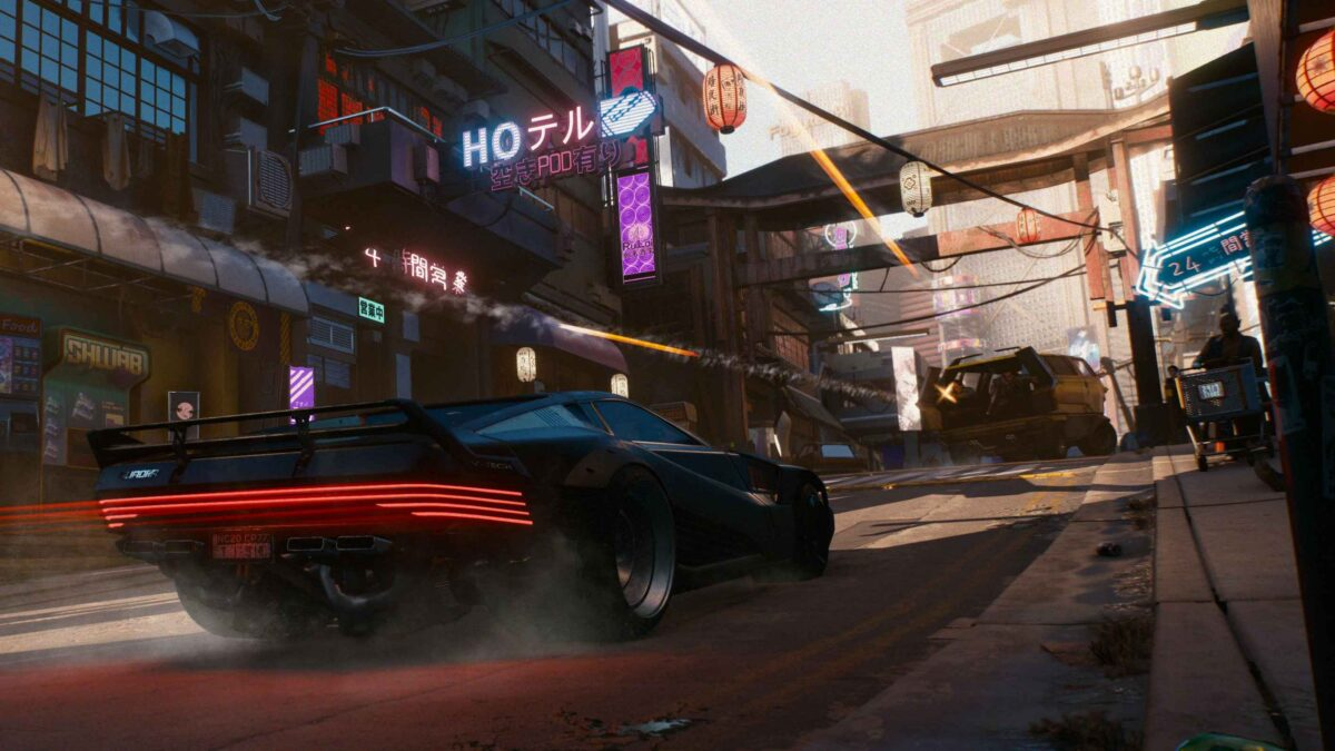 Cyberpunk 2077 Vehicles Black vehicle pursuing van from which rear area somebody is shooting