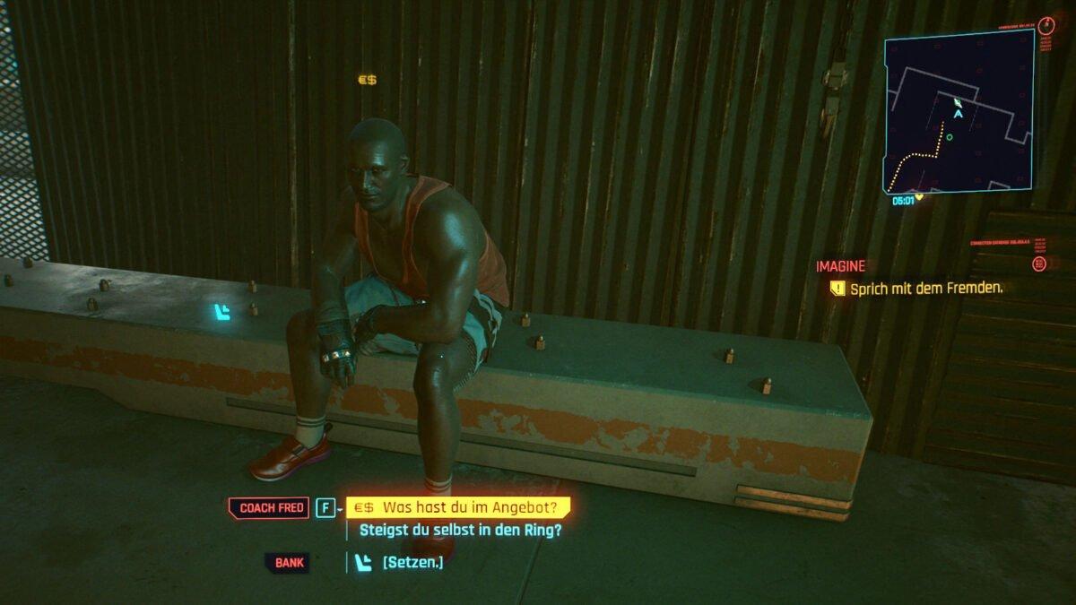 Cyberpunk 2077 Geld verdienen Guide Coach Fred sitzt auf einer Bank