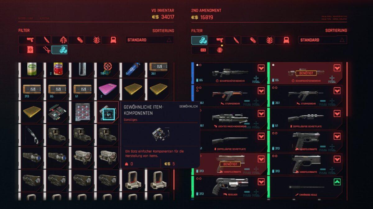 Cyberpunk 2077 Geld verdienen-Guide Crafting-Komponenten im Inventar