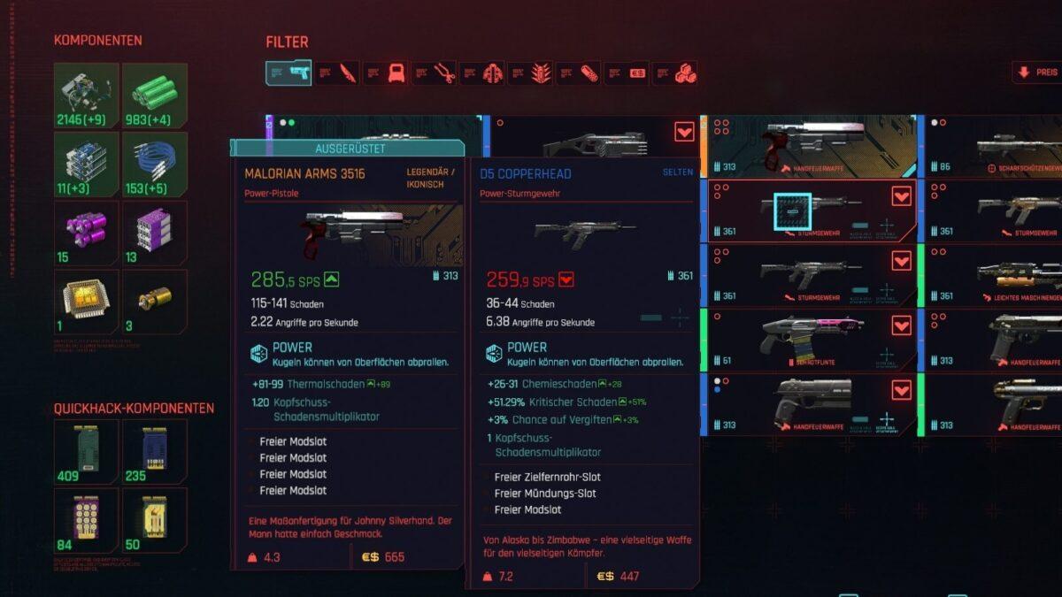 Cyberpunk 2077 Inventar mit Anzeige erhaltener Komponenten bei Zerlegung einer Waffe