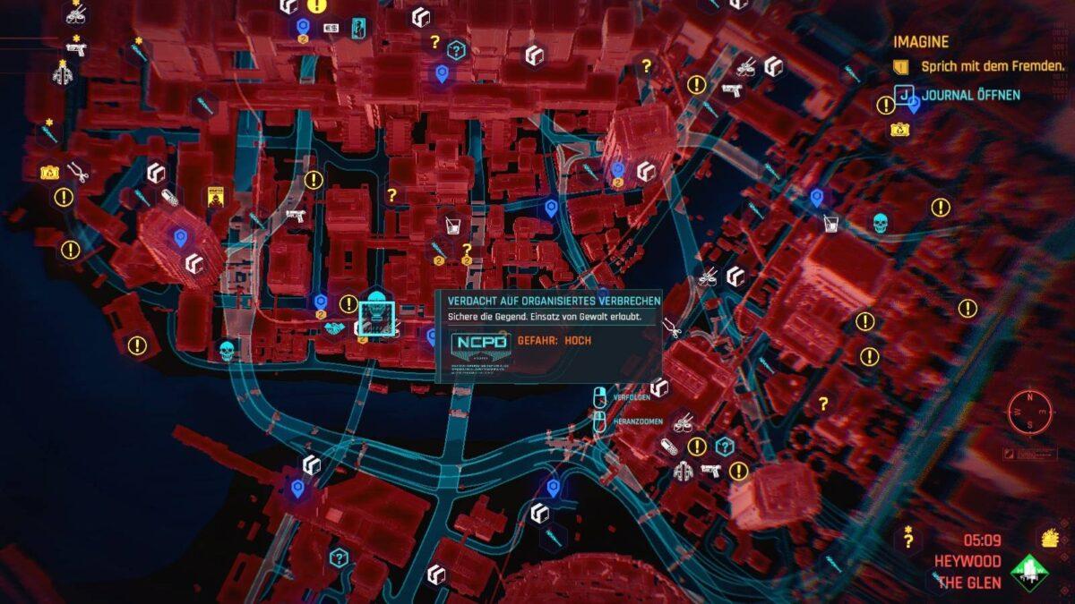 Cyberpunk 2077 Geld verdienen-Guide Blick auf die Night City Karte mit markiertem Gangverbrechen