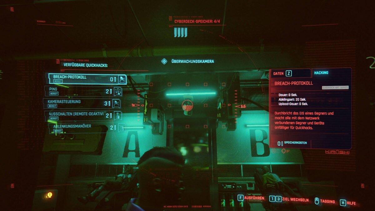 Cyberpunk 2077 Hacking Hack-Übersicht für Sicherheitskamera
