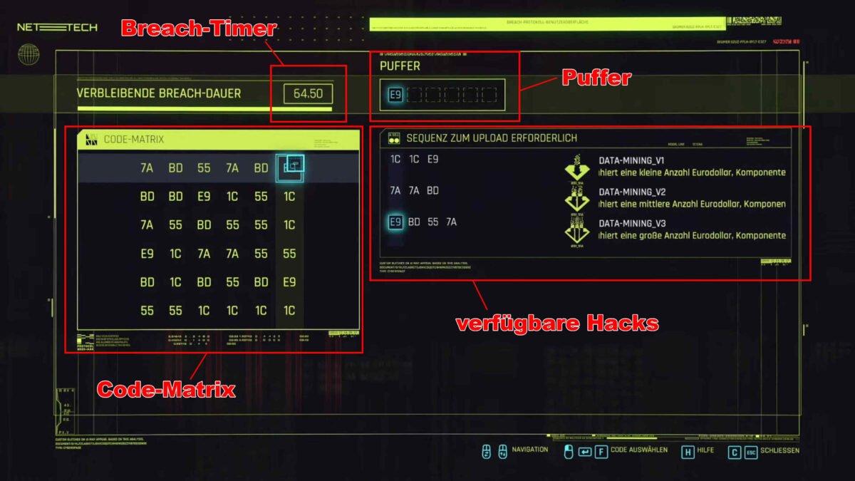 Cyberpunk 2077 Hacking Breach-Protokoll Bildschirm mit Erklärungen