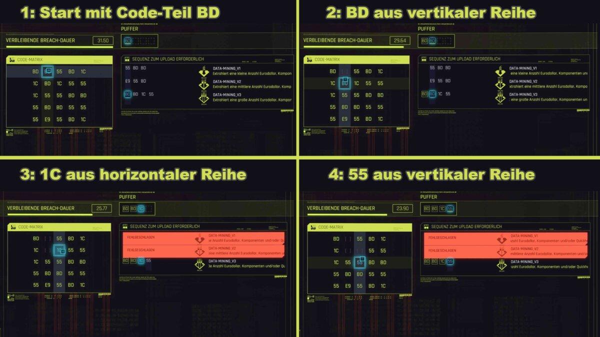 Cyberpunk 2077 Breach-Protokoll Ein Hack Schritt für Schritt gezeigt
