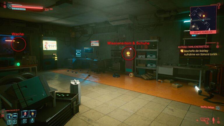 Cyberpunk 2077 Kleidung-Guide Autowerkstatt mit Regalen, Arbeitsplatz und markiertem Spind