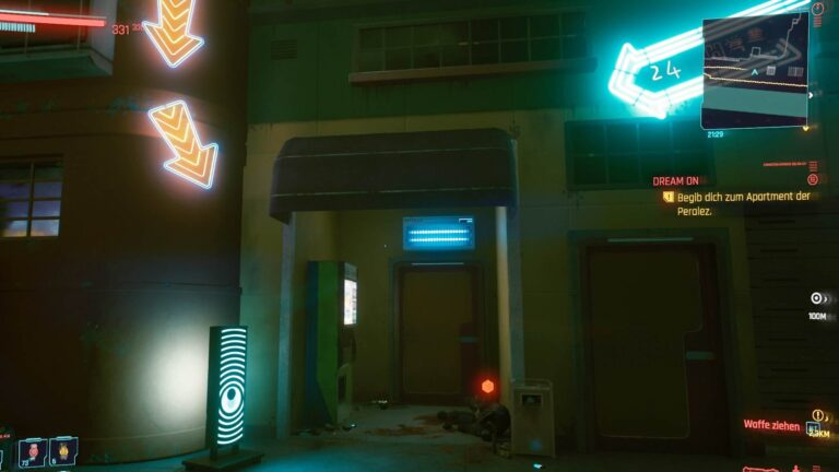 Cyberpunk 2077 Clothing Guide Dead Cop In A House Entrance With Neon Arrows Over It