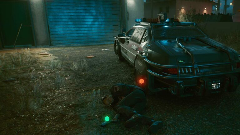 Cyberpunk 2077 Clothing Guide dead policeman lying next to police car in front of garage with blue gate