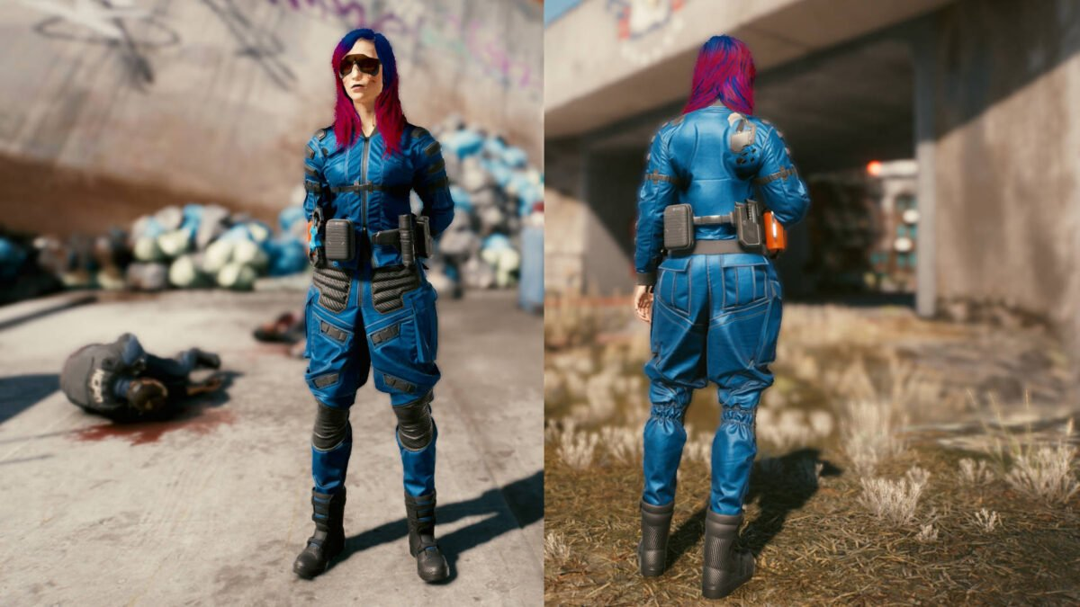 Cyberpunk 2077 Clothing Guide Front and back view of the legendary badge set.