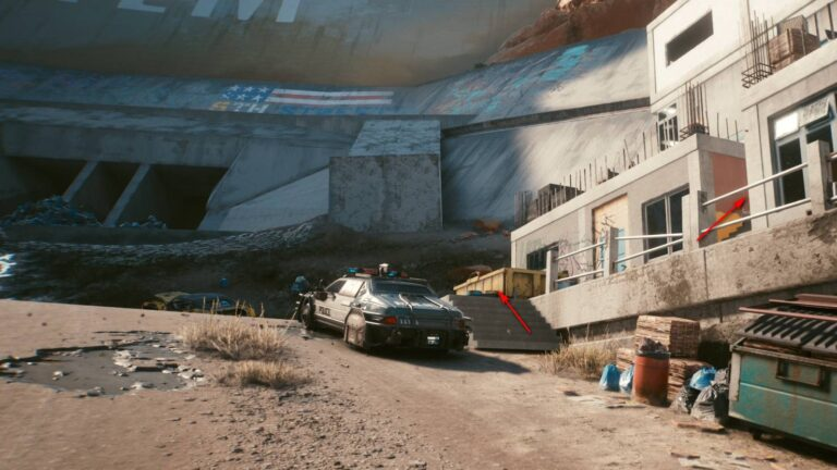 Cyberpunk 2077 Clothing Guide Parked Police Car Next to Stairs to Slum Building
