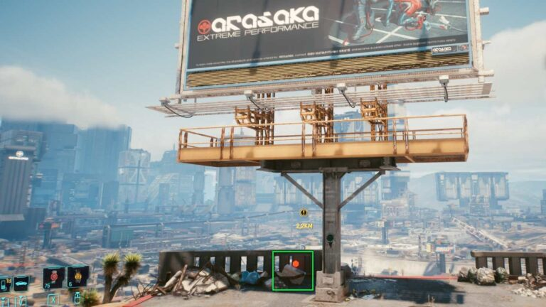 Cyberpunk 2077 Kleidung-Guide Große Arasaka-Werbetafel vor Night City Skyline