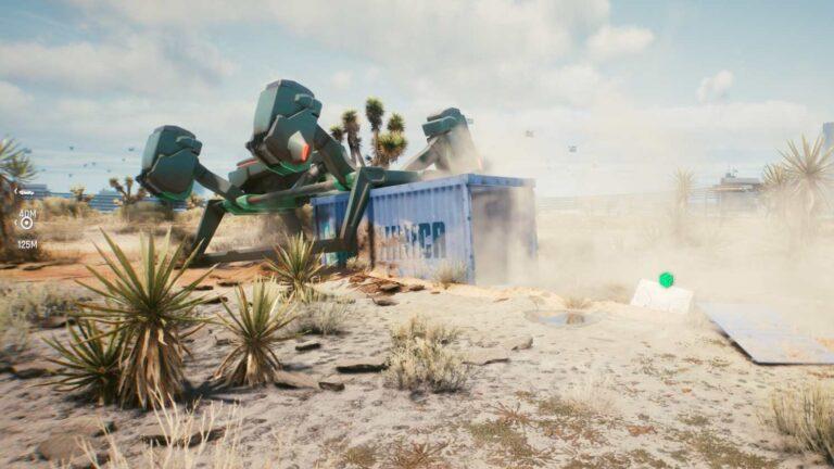 Cyberpunk 2077 Kleidung-Guide Abgestürzte Frachtdrohne in der Wüste mit blauem Frachtcontainer