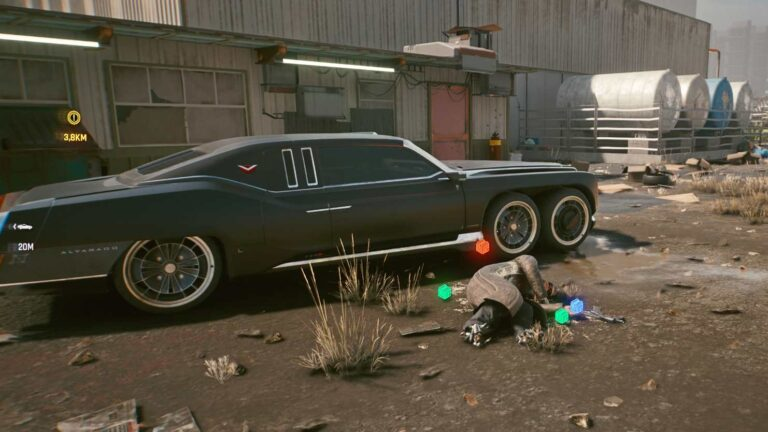 Cyberpunk 2077 Clothing Guide dead man lies in front of black limousine