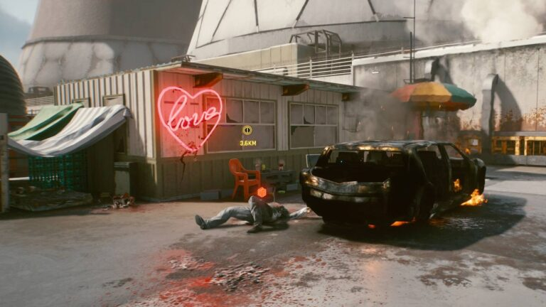 Cyberpunk 2077 Clothing Guide Concern Body Lying Beside Burned Out Car In Front Of Container House With Neon Love Shield