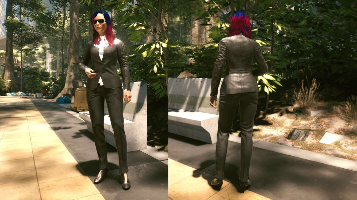 Cyberpunk 2077 Clothing Guide Front and back view of the legendary Corpo set.