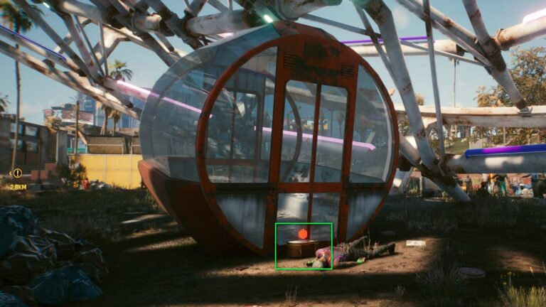 Cyberpunk 2077 Clothing Guide Dark red intact Ferris wheel gondola on floor with corpse in front of it