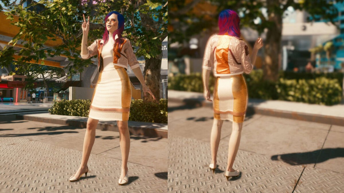 Cyberpunk 2077 Clothing Guide Front and back view of the legendary fixer set.