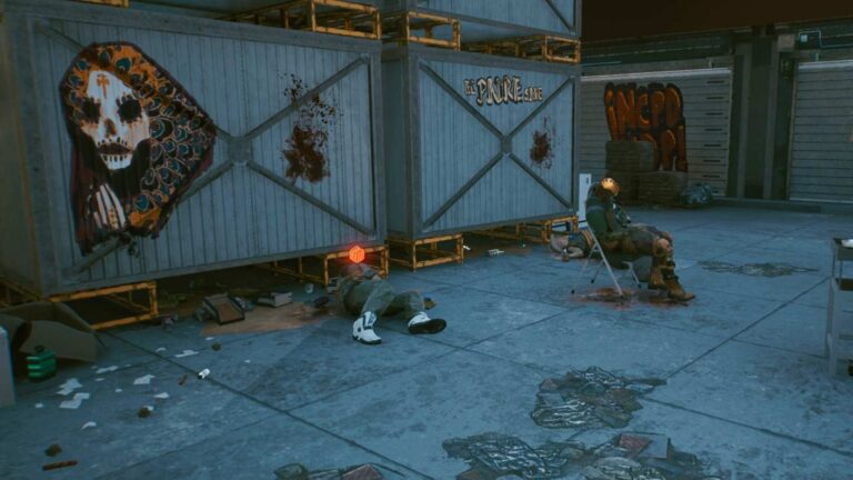 Cyberpunk 2077 Clothing Guide Two corpses in front of containers painted with religious Santa Muerte symbol