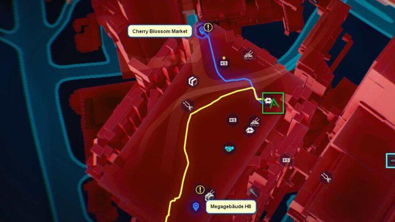 Cyberpunk 2077 Kleidung-Guide Kartenposition der Fixer-Beinbekleidung