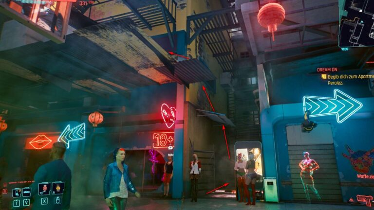 Cyberpunk 2077 Clothing Guide Busy Street In Night City Red Light District