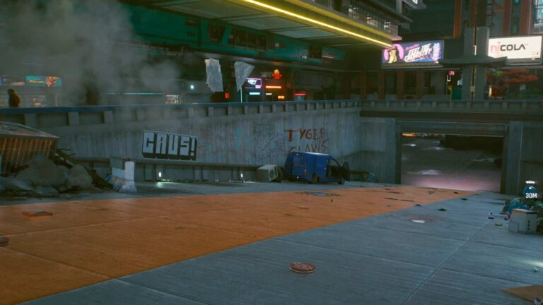 Cyberpunk 2077 Clothing Guide Blue Van In Front Of Underground Garage Entrance