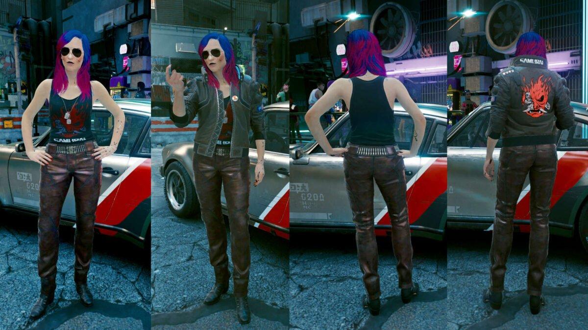 Cyberpunk 2077 Kleidung-Guide Vorder- und Rückansicht des Johnny Silverhand-Sets mit oder ohne Jacke