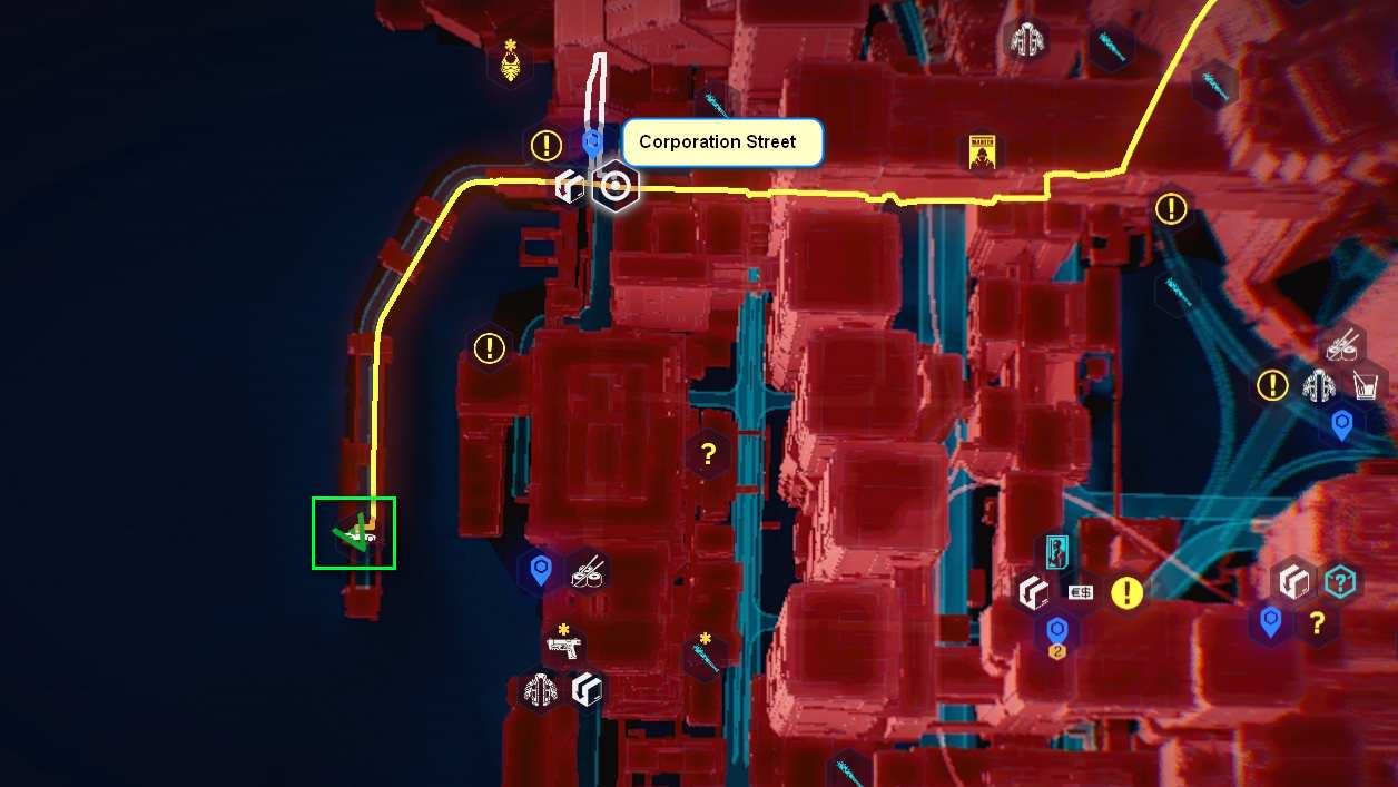 Cyberpunk 2077 Kleidung-Guide Kartenposition des Media-Hemdes