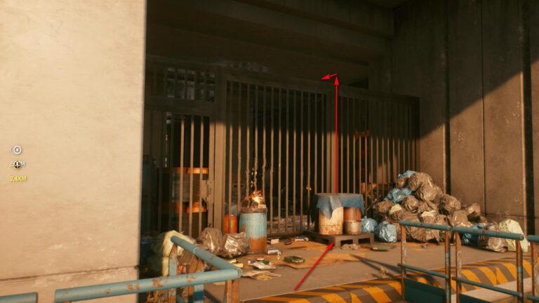 Cyberpunk 2077 Clothing Guide Barred entrance with trash bags and barrels in front of it