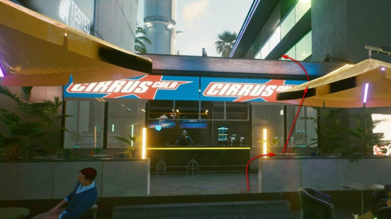 Cyberpunk 2077 Clothing Guide Cirrus Cola Booth with two yellow umbrellas in front of it