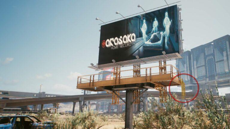 Cyberpunk 2077 Kleidung-Guide Große Arasaka-Werbetafel mit Steg darunter
