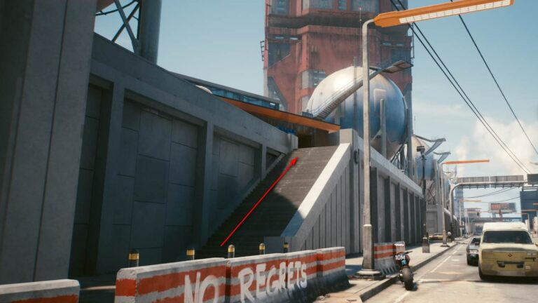 Cyberpunk 2077 Clothing Guide Spherical Storage Tanks on Concrete Walled Gallery with Stairs Up