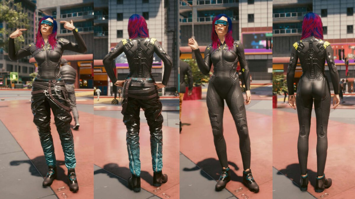 Cyberpunk 2077 Clothing Guide Front and back view of the legendary Netrunner set with and without worn pants.