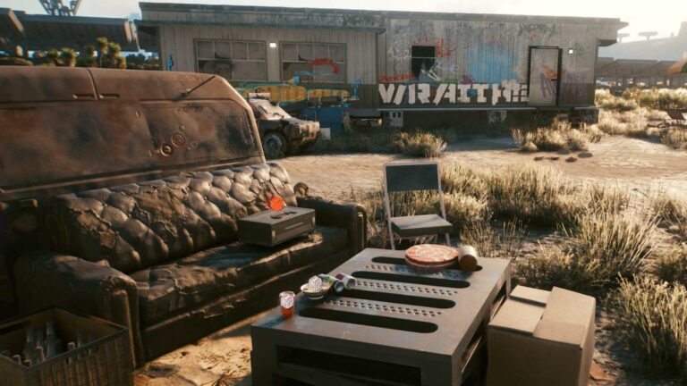 Cyberpunk 2077 Clothing Guide Ripped sofa in front of dilapidated trailer in the desert