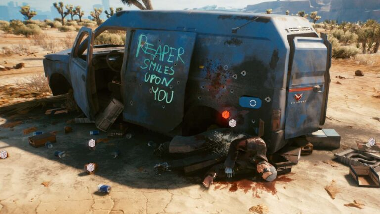 "Cyberpunk 2077 Clothing Guide Destroyed van with corpse in front bearing the words ""Reaper smiles upon you""."