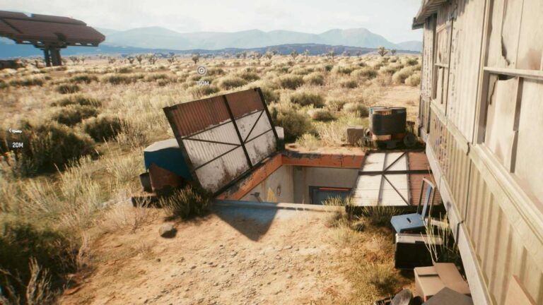Cyberpunk 2077 Clothing Guide open bunker with stairs down behind trailer in the desert