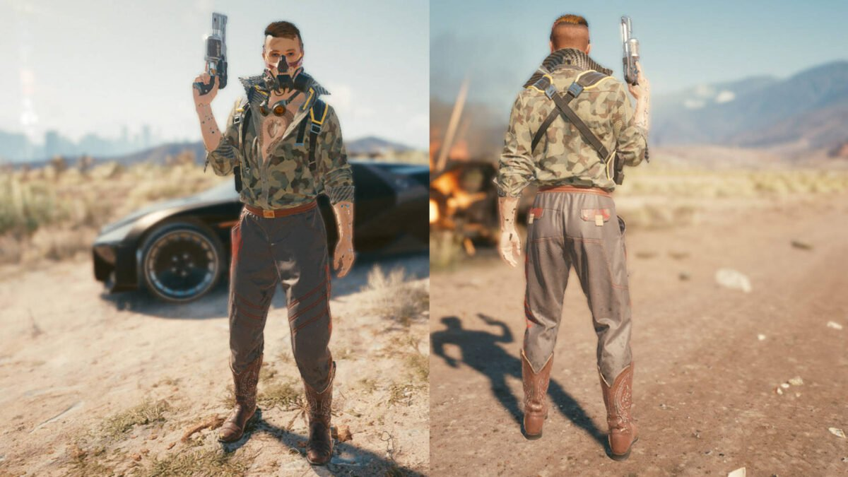 Cyberpunk 2077 Clothing Guide Front and back view of the legendary nomad clothing set.
