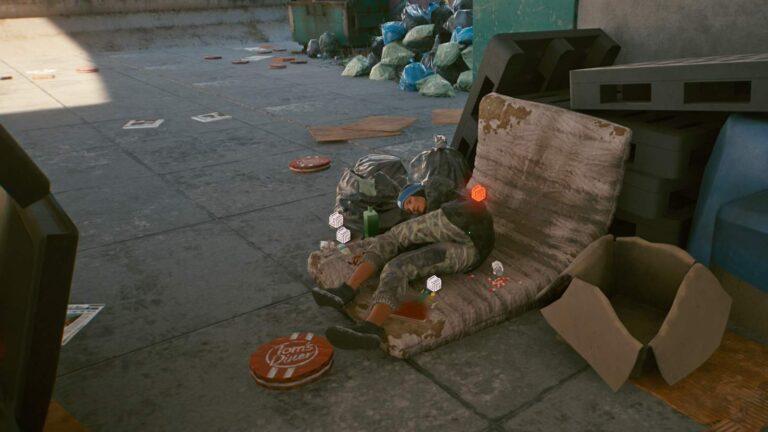 Cyberpunk 2077 Kleidung-Guide Tote Obdachlose liegt auf Matratze in vermüllter Umgebung
