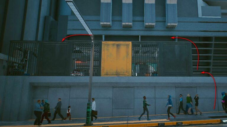 Cyberpunk 2077 Clothing Guide Barred Area With Yellow Metal Wall On Concrete Foundation