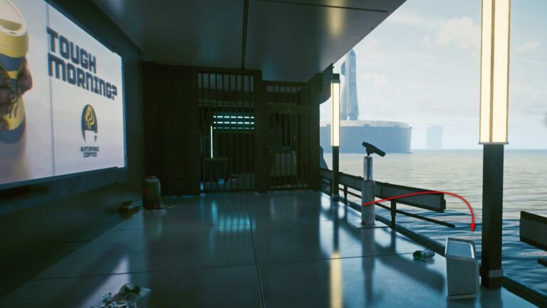 Cyberpunk 2077 Clothing Guide Covered Area With Mirrored Floor And Fence Broken Towards The Sea