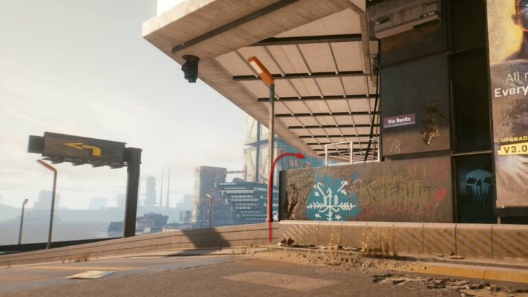 Cyberpunk 2077 Clothing Guide Skyscraper With Blue Snowflake Wall Painting Under Balcony
