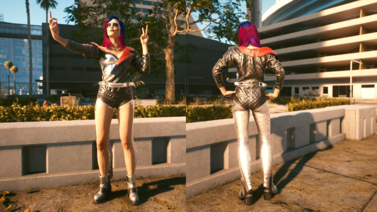 Cyberpunk 2077 Clothing Guide Front and back view of the legendary rocker girl set.