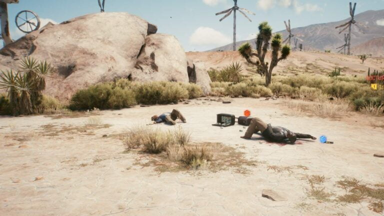 Cyberpunk 2077 Clothing Guide Multiple bodies in front of rocks in the desert