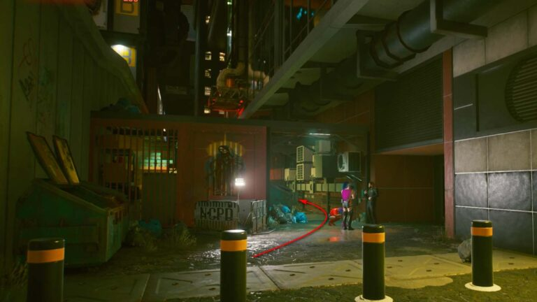 Cyberpunk 2077 Clothing Guide Side Alley Behind Bollards with Gang Members Loitering