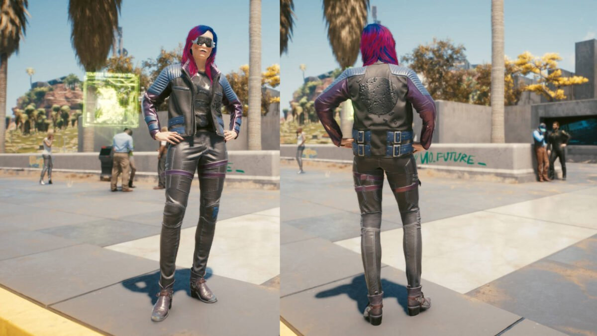Cyberpunk 2077 Clothing Guide Front and back view of the legendary Solo Clothing Set.