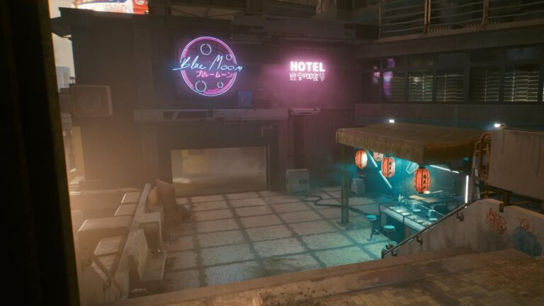 Cyberpunk 2077 Clothing Guide Asian food stall next to a hotel entrance with neon sign above it.
