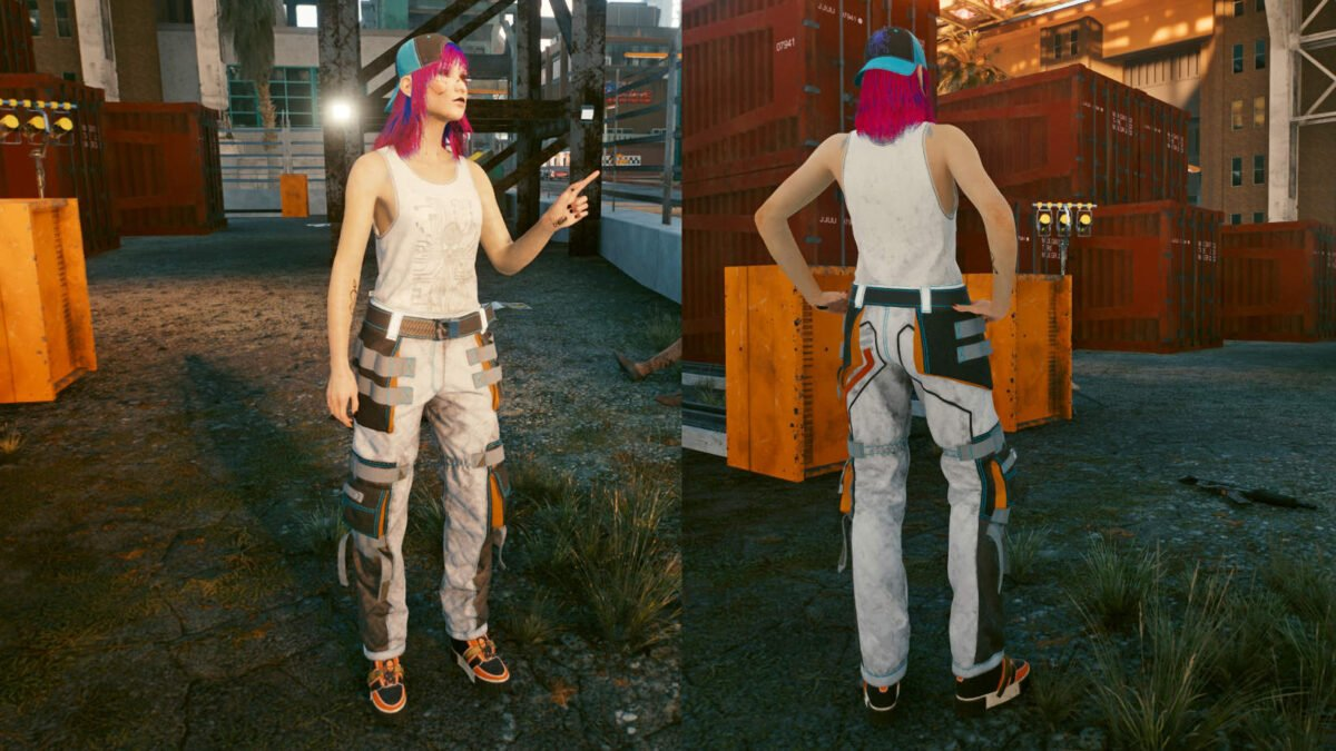 Cyberpunk 2077 Clothing Guide Front and back view of the legendary Techie clothing set.