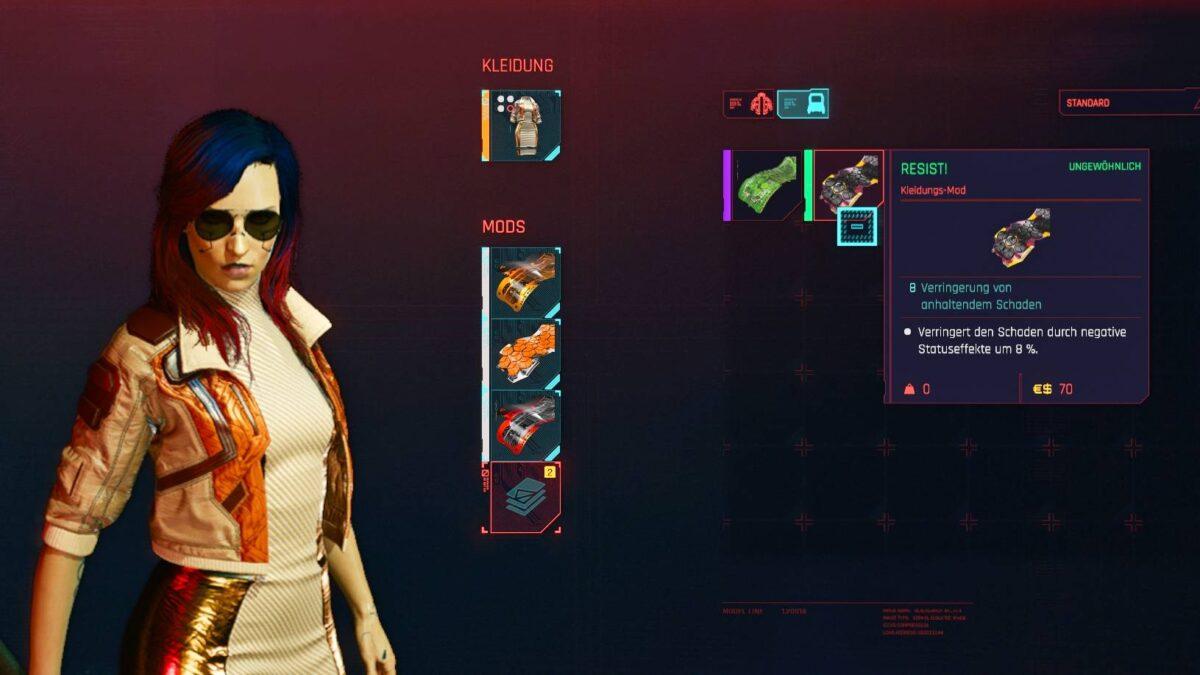 Cyberpunk 2077 Kleidung-Guide Modslot-Übersicht des Fixer-Oberteils mit zwei neuen einsetzbaren Mods