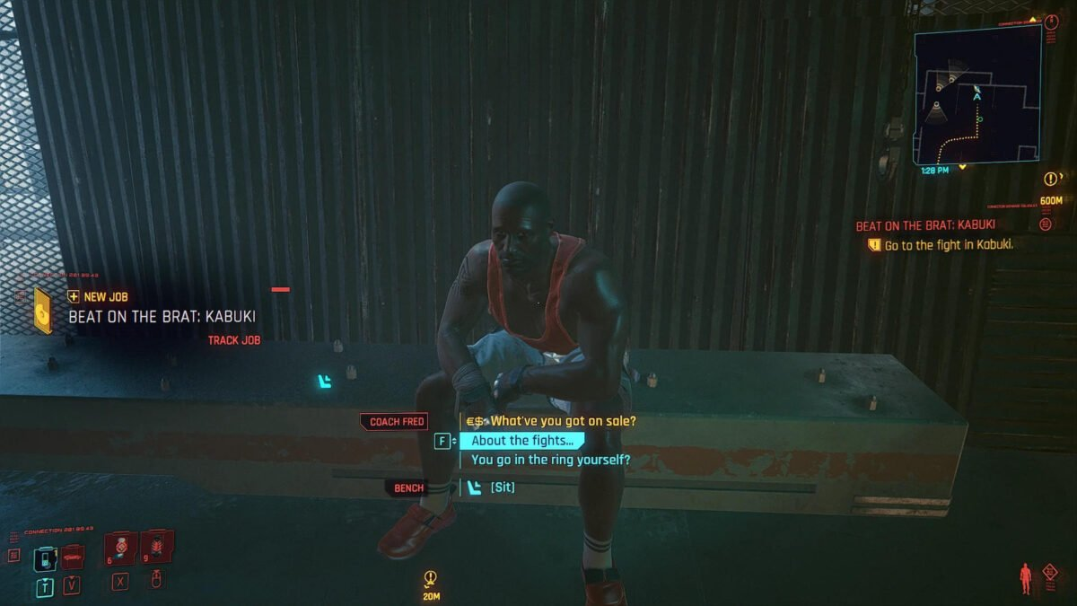 Cyberpunk 2077 Money Making Guide Coach Fred sits on a bench